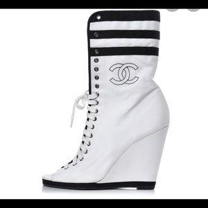Chanel canvas wedge heels